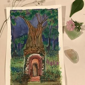 """Original Painting watercolor gnome house  3.3"""" x5"""""""